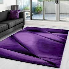 moderner designer wohnzimmer teppich miami 6590 lila größe 80x150 cm