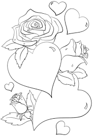 Click To See Printable Version Of Hearts And Roses Coloring Page