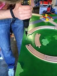 Making Wooden Toy Trains by Attaching Wooden Train Tracks Kids Train Tracks Pinterest