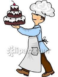 A Chef Carrying A Three Tiered Chocolate Cake Royalty Free Clip Art Illustration