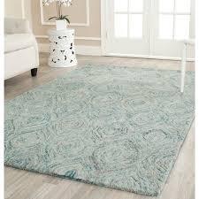 4x6 Rugs For Stylish Floor Decor Sea Blue Wool Hand Made Fotr Minimalist