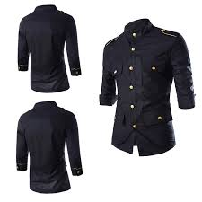 slim fit men dress 3 4 sleeve shirts mens dress shirts with golden