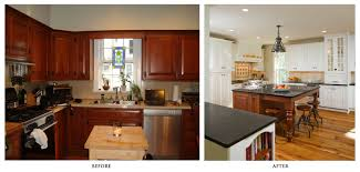 Kitchen Renovations Before And After With Light Cabinets Granite Countertop Plus Unique Pendant Limpt On