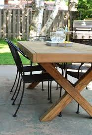 Outdoor Table With X Leg And Herringbone Top