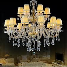 Elegant Crystal Chandelier With Shades Living Room Glass Lamp K9 Vintage