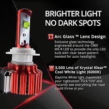 opt7 snowmobile led headlight kit h4 9003 6000k 6k