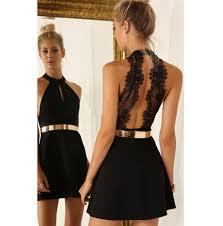 com buy black lace cocktail dress 2016 elegant halter chiffon