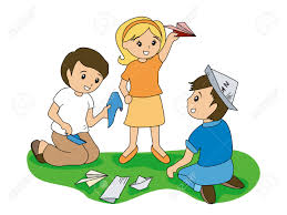 Children And Folding Papers Royalty Free Cliparts Vectors