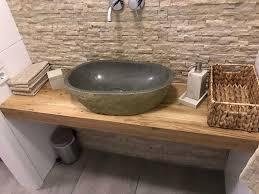 waschtisch platte schrank holz eiche massiv bad wc konsole