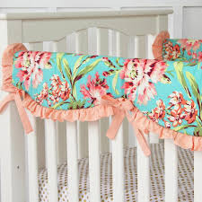 Aqua And Coral Crib Bedding by Coral Camilla Ruffle Baby Bedding Caden Lane