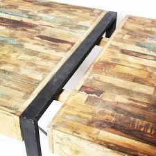 table à manger métal bois coloré à rallonges madeinmeubles