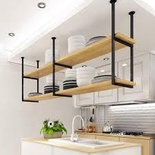 industrielle wandmontage schwarz und gold massivholz rack