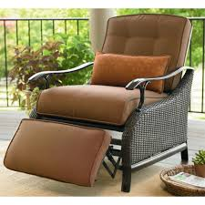 Dark Wicker Outdoor Recliners Equipped With Brown Padded Seat And