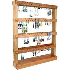 Earring Holder Stand Display Cherry Wood Double Sided Holds Up To 144 Pairs Jewelry