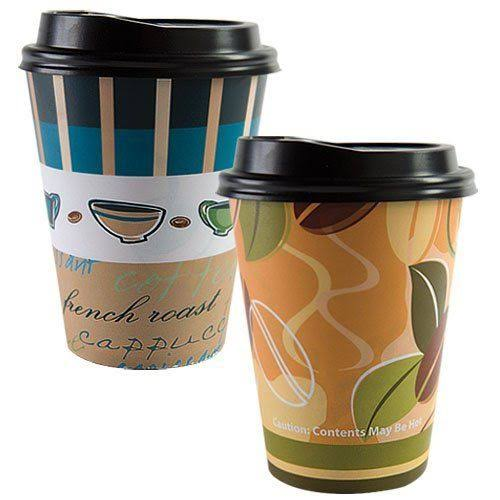 Paper Cup Coffee Bean Pattern Hot Cold with Lid 12oz 14ct