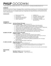 Summary Of Resourceful Technical Project Manager Skilled With Job Resume Format Sample And Education In University California