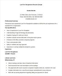 Law Firm Receptionist Resume Sample Samples