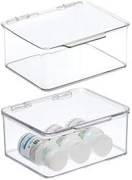 mdesign 2er set badezimmer box mit deckel praktische kunststoff box für pflegeprodukte medikamente und handtücher stapelbare aufbewahrungskiste