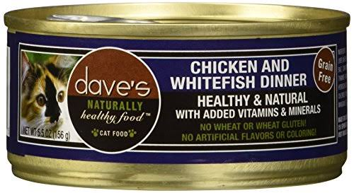 Dave's Naturally Healthy Grain Free Chicken & Whitefish Dinner Formula Can Cat Food - 5.5oz