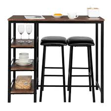 Details About 3 Piece Bar Table Set With 2 Stools Bistro Pub Kitchen Dining  Furniture Brown US