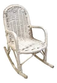 Vintage White Wicker Doll Rocking Chair