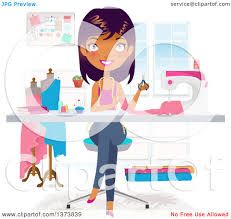 Clipart Of A Beautiful Black Fashion Designer Making Dress In Her Office