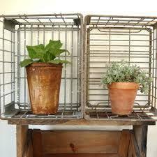 Vintage Wire Milk Crates Turned Plant Storage