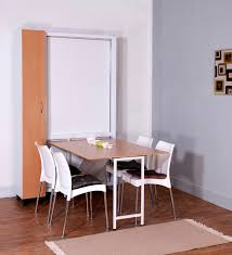 Sophisticated Space Saver Dining Set With Rectangular Table Wooden Top And Stylish White Chair