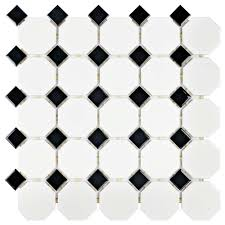 Home Depot Floor Tiles Porcelain by Merola Tile Metro Octagon Matte White With Dot 11 1 2 In X 11 1 2