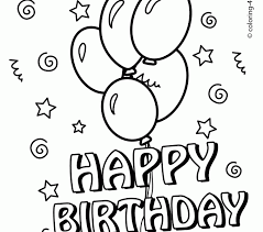 Birthday Colouring Pages To Print Happy Coloring With Balloons For Kids Sheets