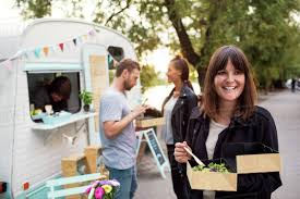 100 Outside The Box Food Truck Smiling Customer Holding Disposable Salad Box On Street With Friends