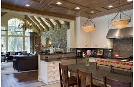 Harmonious Open Kitchen To Dining Room by Beams In Living Room And Open Kitchen Transitions For Floor And