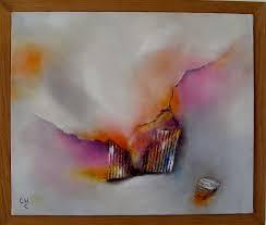peinture à l huile abstrait et collages sur toile de encadrée