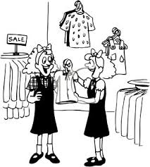 Black And White Cartoon Of Twin Girls Clothes Shopping