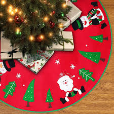 Unomor 42 Inch Christmas Tree Skirt With Reindeer Snowman Christmas Tree And Snow Flakes For Christmas Decoration Red