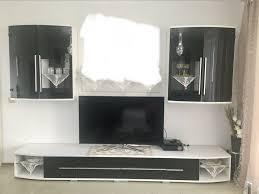 wohnzimmer hänge schränke wohnwand schwarz weiß neuwertig porta