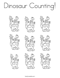 Dinosaur Counting Coloring Page