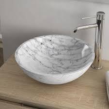 vasque à poser ronde en marbre 41 cm carrara