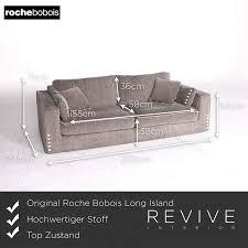 100 Roche Bobois Uk Long Island Designer Fabric Sofa Gray Beige