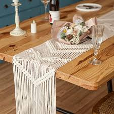 mkono 78 inches macrame table runner woven wedding table decor handmade boho linen with tassels vintage farmhouse home decoration for dining room