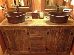 Furniture Rustic Bathroom Vanity Cabinets Style With Copper Vessel Sinks