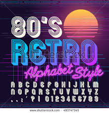 80s Retro Alphabet Font Vector Old Style Graphic Poster Eighties