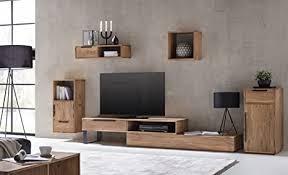 woodkings wohnwand massiv holz 5teilig auckland tv bank