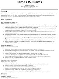 Waiter Server Resume Example