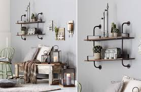 Double Shelf Wall Mount Wood And Metal Unit Industrial Rustic