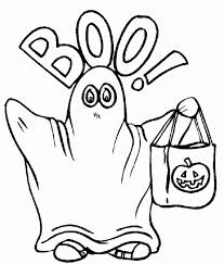 Kid Wearing Ghost Costume On Halloween Coloring Pages