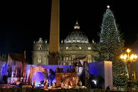 Christmas Tree And Nativity Scene Decorate St Peters Square At Vatican After Lighting Ceremony