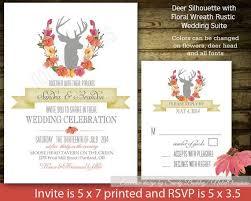 Rustic Deer Antler Wedding Invitation