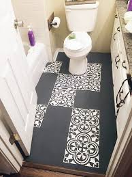 Tiling A Bathroom Floor Over Linoleum by How To Stencil A Tile Pattern On A Bathroom Floor Stencil Stories