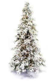 Snow Flocked Slim Christmas Tree by Amazon Com 9 U0027 Flocked Pine Long Needle Prelit Artificial